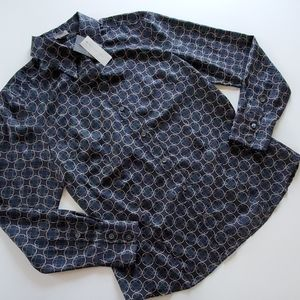 Ann Taylor navy silk button down size 8